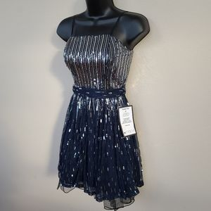 Host Pick! Cocktail Dress Navy Blue Size 1 Sequins